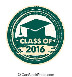 class of 2016 with graduate cap with tassel, round label