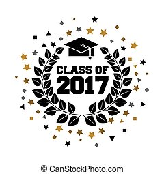 class of 2017 card vector illustration design