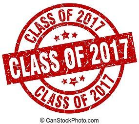 class of 2017 round red grunge stamp