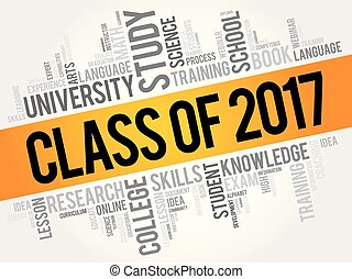 CLASS OF 2017 word cloud collage, education concept...