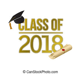 class of 2018 gold sign illustration design graphic isolated...