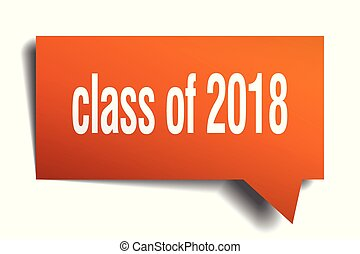 class of 2018 orange 3d speech bubble