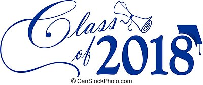 Class of 2018 with Cap and Diploma Blue