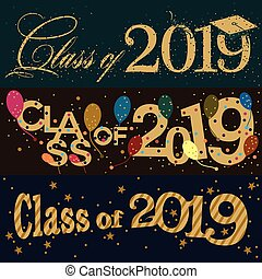 Class of 2019 banner designs - A set of three colorful...