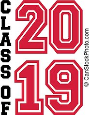Class of 2019 in black and red