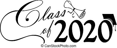 Class of 2020 Script with Diploma and Cap B&W