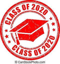 Class of 2020 vector graduation stamp on white background