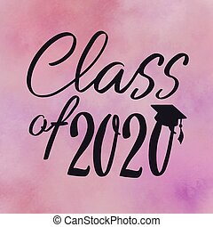 Class of 2020 with graduation cap and abstract background