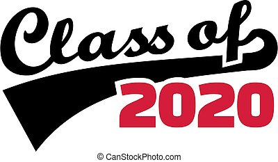 Class of 2020 words with retro style black