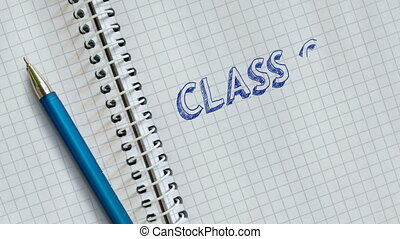CLASS OF 2021. Animated handwritten text on a school notebook page. Graduation 2021