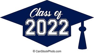class of 2022 Blue Graduation Cap
