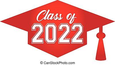 class of 2022 Red Graduation Cap
