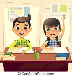 class., plat, école, concept, gosses, garçon, étudiants, tâche, écrit, dos, doigts, haut, characters., desk., answer., deux, notebook., girl, enfants, dessin animé, heureux
