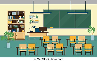 Class room interior with furniture