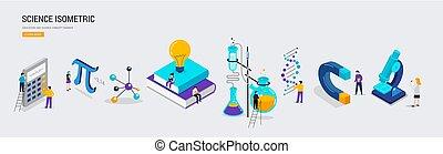 class., school, concept, students., mensen, wetenschap, isometric, laboratorium, scène, opleiding, miniatuur, wiskunde, chemie