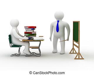 class., scuola, image., isolato, lezione, 3d