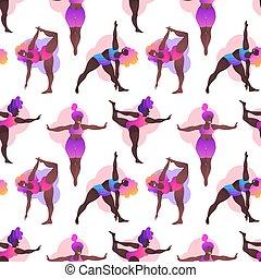 class., seamless, yoga, positive., vecteur, filles, plus, curvy, noir, pattern., africaine, taille, séduisant, illustration., américain, woman., corps