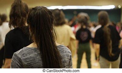 class., sombre, danse, gens, cheveux, indoors., girl, ouvert...