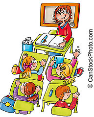 class teacher, pupils, lesson, desks, backpacks, books