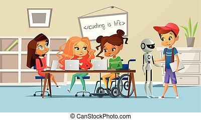classe, école, étudier, fauteuil roulant, filles, illustration, handicapé, garçons, vecteur, table, girl, enfants