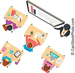 classe, école, étudier, sommet, illustration, professeur classe, vecteur, tableau noir, vue., enfants