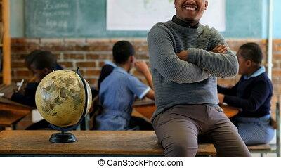 classe, école, mâle, délassant, 4k, prof