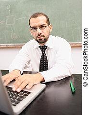 classe, école, ordinateur portable, prof