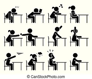classe, école, pictogramme, étudiants, set., asseoir, days., lessons., children., écouter, icône