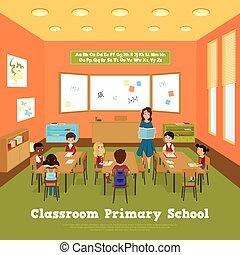 classe, école, primaire, gabarit