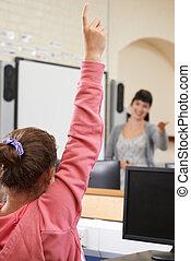classe, école, question réponse, pupille, femme