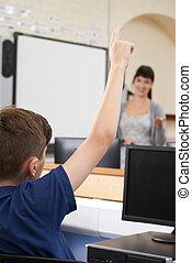 classe, école, question réponse, pupille, mâle