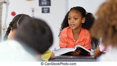classe, écolière, africaine, vue, schoolkids, américain, enseignement, 4k, devant