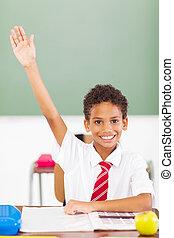 classe, élémentaire, écolier, haut, bras
