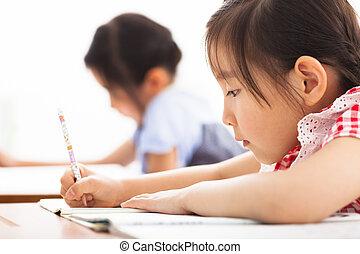 classe, étude, enfants, heureux