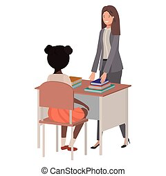 classe, étudiant féminin, prof