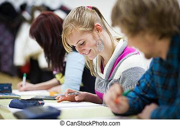 classe, étudiant, femme repos, collège, joli