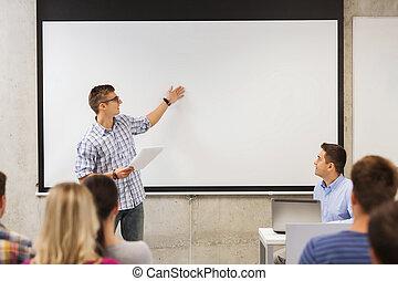 classe, étudiants, sourire, groupe, prof