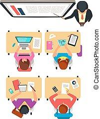 classe, étudiants, tableau noir, sommet, illustration, prof, vecteur, collège, apprentissage, vue., classe