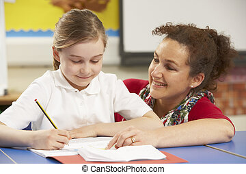 classe, étudier, écolière, prof