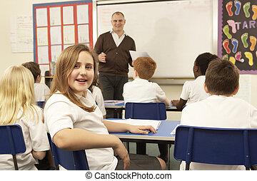 classe, étudier, prof, écoliers
