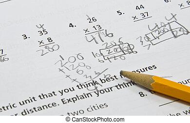 classe, 4ème, feuille, math