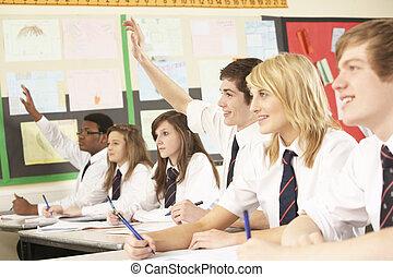 classe, adolescent, étudier, question réponse, étudiant