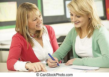 classe, adolescent, femme, étudier, étudiant, prof