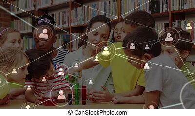 classe, animation, média, social, gosses, signes, sur, fond