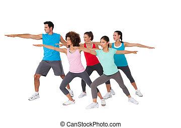 classe aptidão, fazendo, esticar, exercícios