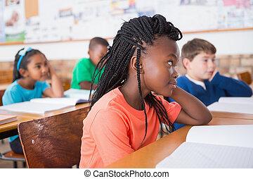 classe, attentivement, mignon, élèves, écoute