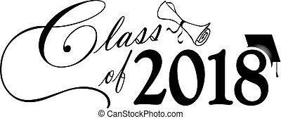 classe, berretto, diploma, 2018