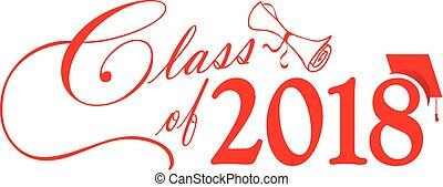 classe, berretto, diploma, rosso, 2018