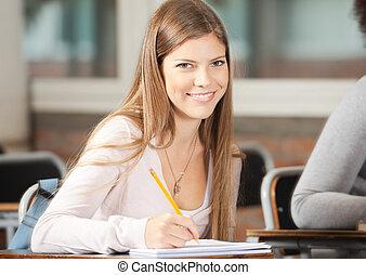 classe, bureau, étudiant université, séance