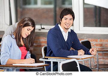 classe, bureau, camarade, étudiant, séance